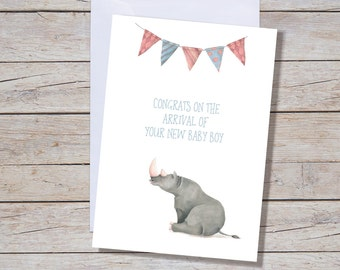 New Baby Boy  - A6 Greeting Card, New Baby, Baby Shower Greeting Card, New Baby Card