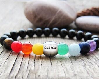 Inspirational bracelets Inspirational quote bracelet Mantra bracelet chakra  7 chakra balancing bracelet chakra beads  stone