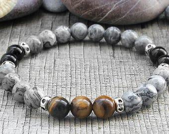 Marble bracelet for men bracelet Jasper bracelet Adjustable bracelet Men stone bracelet Yoga bead bracelet Men mala bead mantra bracelet