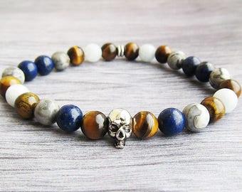 Skull bracelet Mens bracelet for men Adjustable bracelet Gemstone bracelet  bracelet Cool bracelet for him Gift for men gift bracelet