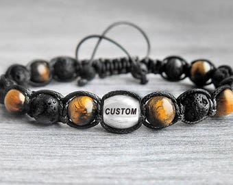 Mens Personalized Bracelet men's bracelet Initial bracelet Tiger eye bracelet Custom Bracelet Mens gift for him Boyfriend Gift for men gifts