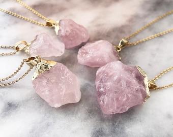 Raw Rose Quartz R4-53 Rose Quartz Jewelry Tiny Rose Quartz Necklace Bridesmaid Gift Women