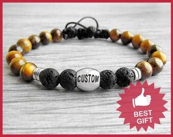 Personalized Mens Bracelet Personalized men's bracelet Name bracelet Tiger eye bracelet Custom Bracelet Mens gift for him Boyfriend Gift