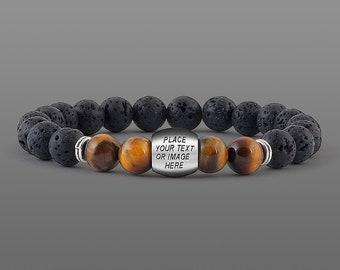 Custom Bracelet for men Personalised gift Men message bracelet Anniversary gifts Best men Gifts Groomsmen gifts for him black lava bracelet