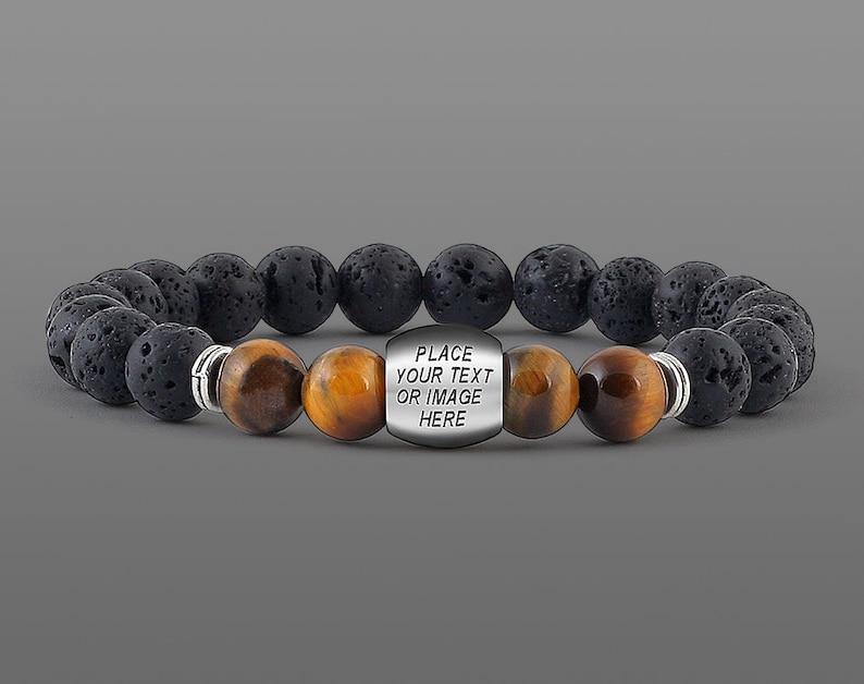 Custom Bracelet for men Personalised gift Men message bracelet image 0