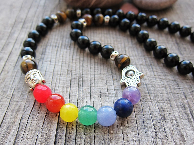 7 chakra necklace meditation necklace Yoga necklace Chakra image 0