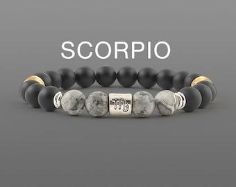 Scorpio bracelet Black agate bracelet Zodiac jewellery Scorpion gifts for him Zodiac bracelet Black bracelet Mens bracelet Unisex bracelet