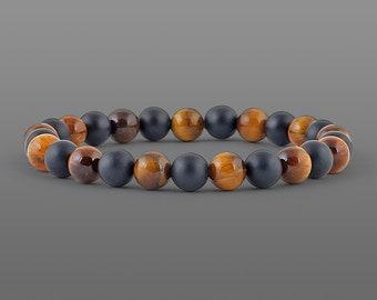 Tiger eye black onyx bracelet Matte Tiger eye bracelet Matte Onyx bracelet Men bracelet Matte bracelet Meditation bracelet Elastic bracelet