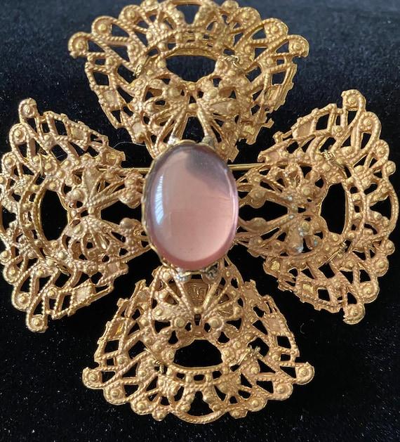 Miriam Haskell Brooch/Pin Gold Tone Cross
