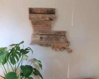 Louisiana State Sign | Reclaimed Wood | Pallet Sign | Home Decor | Wall Art | Rustic Decor | Barn wood |