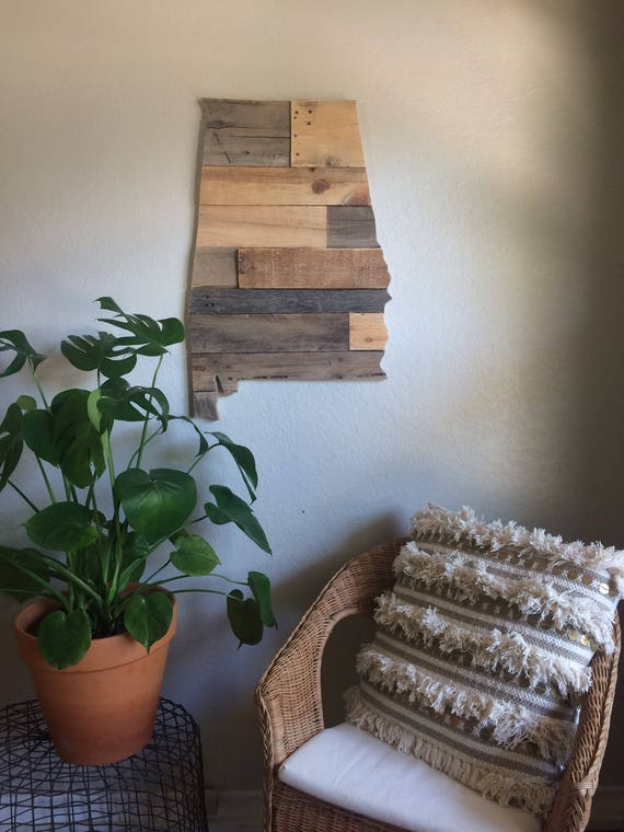 Alabama State Sign Reclaimed Wood Pallet Sign Decor Wall