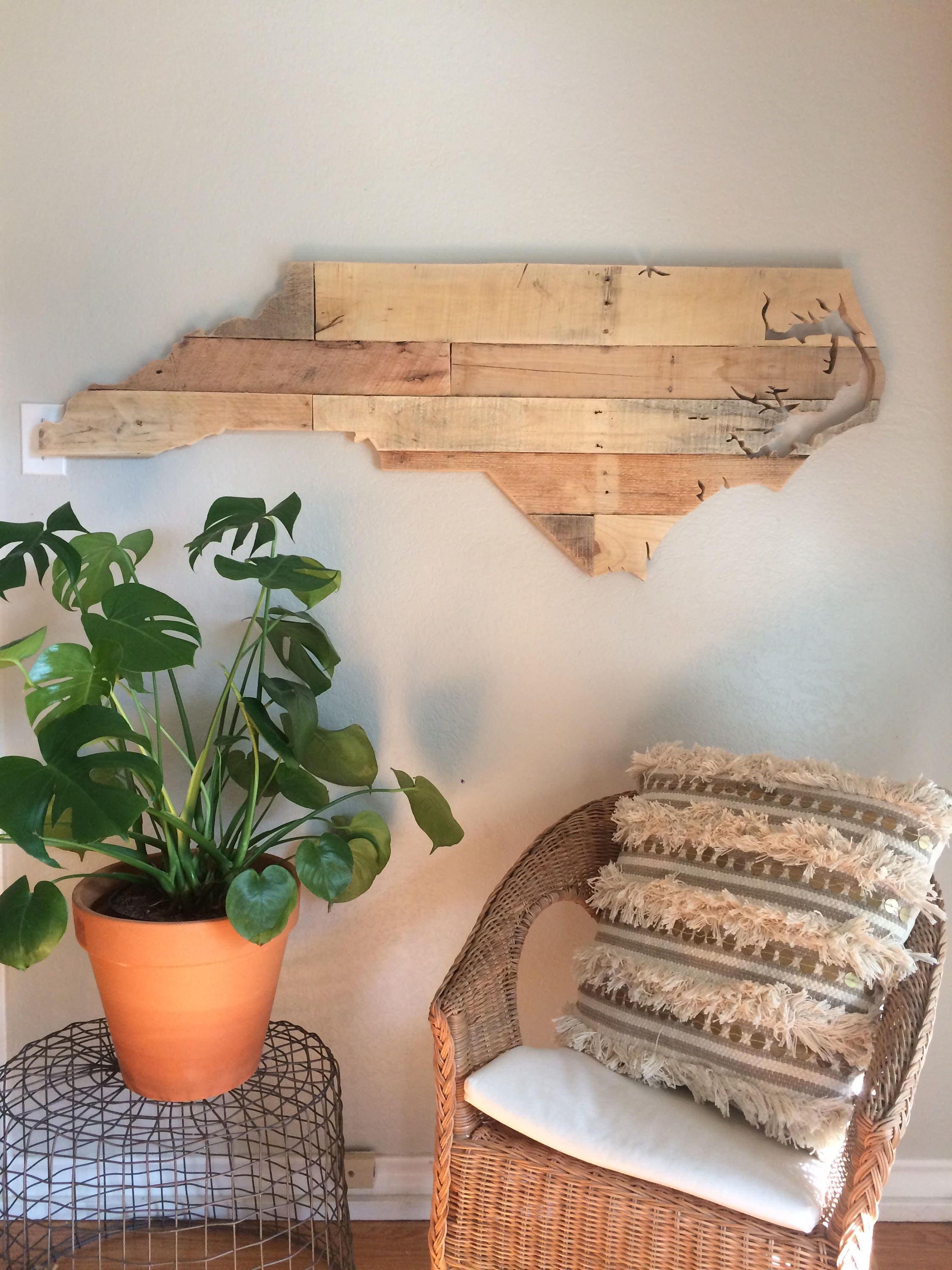 North Carolina State Sign Reclaimed Wood Pallet Sign Decor