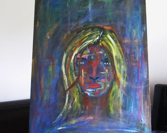 Mystery Woman - Mixed Media Original Oil Painting Abstract Art on Canvas Board 61cm x 46cm