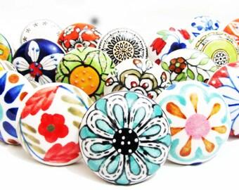 8 x Mix Vintage Look  Floral Ceramic Knobs Door Cabinet Cupboard Knob Pull Handle