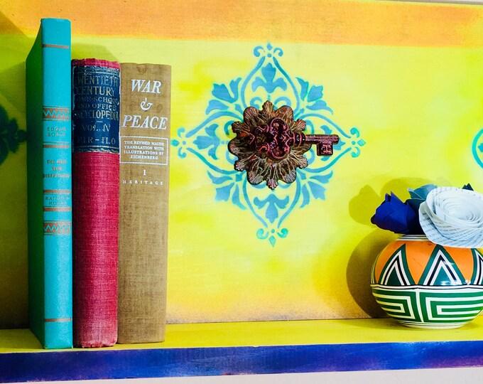 Bookshelves floating shelves pallet wood book shelf /reclaimed wooden art/ boho decor wall organizer shelving Morrocan mandala tiles 5 knobs