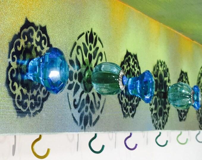 floating nightstand/ wall hanging vanity /custom wooden shelves boho bedroom organizer painted mandalas decor 7 glass knobs 8 colorful hooks