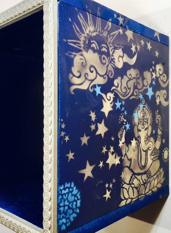 Personnalisé casiers bois mural mural mural cubby étagère sur mesure boho meubles/Wall cubes yoga studio décor ohm art /hanging organisateur de stockage   De Haute Qualité Et De Bas Frais Généraux  3f1303