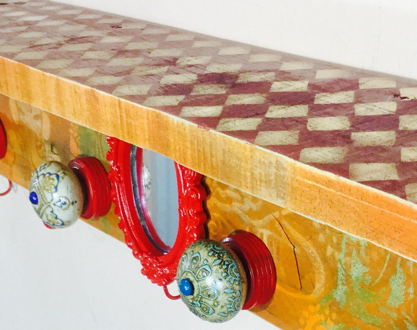 floating nightstand/ framed makeup mirror wooden wall hanging vanity ...