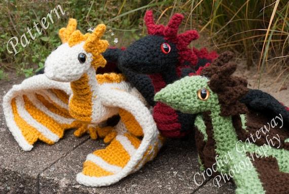 Dragon Pattern Triplet Dragon Crochet Pattern Etsy
