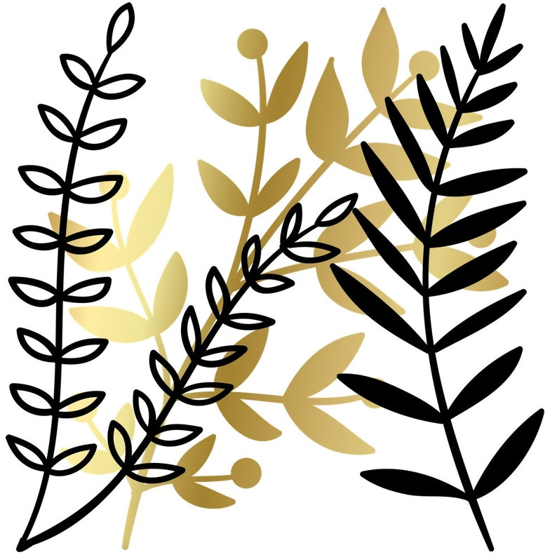 Black /& White Branch and Leaf Clipart Set 60 .PNG Files INSTANT DOWNLOAD Gold