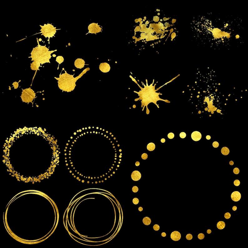 INSTANT DOWNLOAD 22 .PNG Images Logo Art Rainbow Watercolor Dot Clipart Set Ink Splatter in Gold Golden Circle Images
