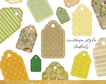 Gift Tag & Label Clipart Set - Vintage Style In Green and Yellow - INSTANT DOWNLOAD - 20 .PNG Files