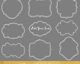 Sketchy Frames Clipart Set - in Black, White and Grey - INSTANT DOWNLOAD - 27 .PNG Images