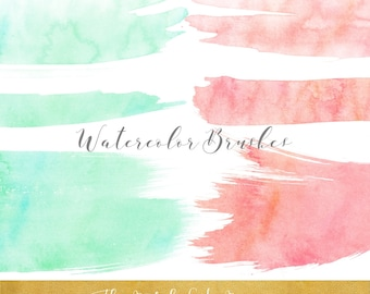 Watercolor Brush Stroke Clipart - In Peach & Mint - INSTANT DOWNLOAD - 20 .PNG Files