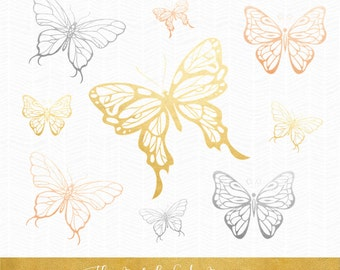 Butterfly Clipart in Gold, Silver & Copper - INSTANT DOWNLOAD - .PNG Files