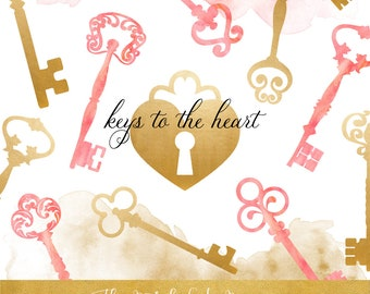 Vintage Key & Keyhole Clipart Set - Golden and Pink Watercolor Keys, Keyholes and Paint Stains - INSTANT DOWNLOAD - 22 .PNG Files