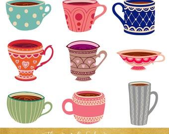 Tea Cup Clipart Set - INSTANT DOWNLOAD - 34 .PNG Images
