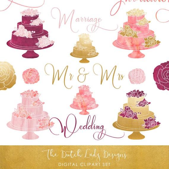 Hochzeitstorte Clipart Set In Rosa Lila Und Gold Sofortiger Etsy
