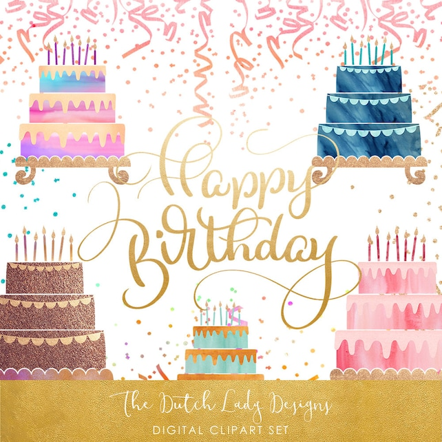 Birthday Cake Party Clipart Set Colorful Layered Cakes Etsy