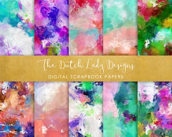 Digital Scrapbook Paper - Oil Paint Style - 10 Papers in .JPEG File - INSTANT DOWNLOAD