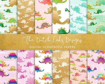 Digital Scrapbook Paper - Cute Colorful Dinosaur Patterns - 12 papers in .JPEG Files - INSTANT DOWNLOAD