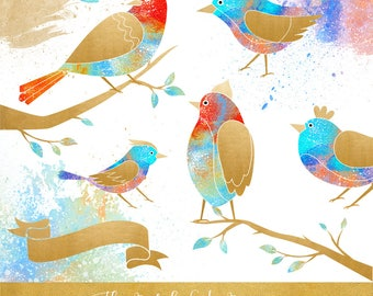 Bird & Branch Clipart Set - Fantasy Birds - Paint Splatter - Banners - Colorful Graphics - INSTANT DOWNLOAD - 20 .PNG Files