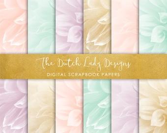 Digital Scrapbook Paper - Dahlia Flowers in Pastel & Gold - 12 Papers in .JPEG File - INSTANT DOWNLOAD