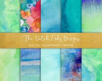 Digital Scrapbook Paper - Artistic Aqua Watercolor Style - 10 Papers in .JPEG File - INSTANT DOWNLOAD