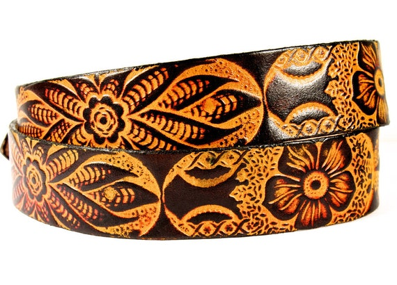 Valentine/'s Day Gift Handcrafted western floral print Good Karma Leather Belt with snap and interchangeable bucklegifts for him