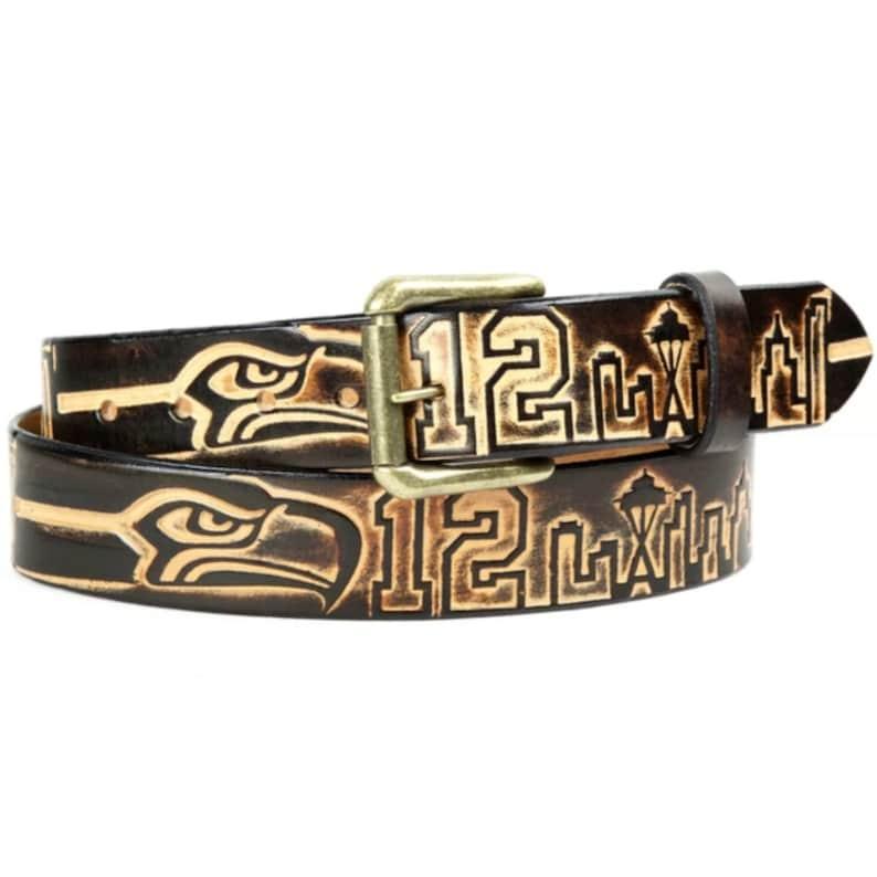12th Man Gift Hawks Gear Brown Leather Belt For Him Snap on Leather Belt Seahawks Fan Gift Men/'s Leather Seattle Seahawks Belt