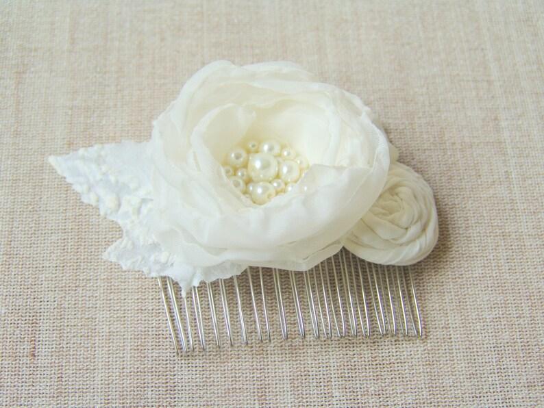 Flower Brooch Bride Hair Fascinator Women wedding brooch Ivory Hair Clip Pearls Rhinestones