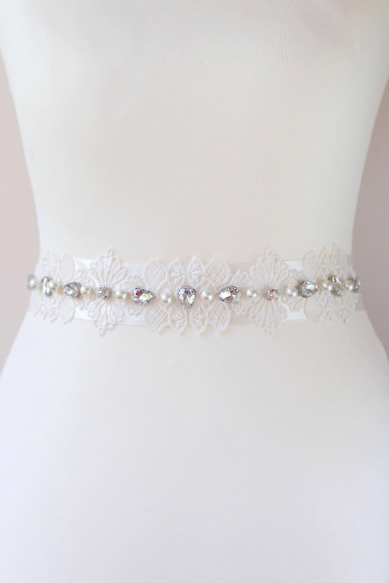 Ivory Cummerbund Rhinestone Sash Bride Bridal Belt Lace Pearls image 0