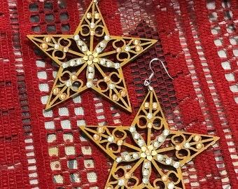 Star wood earrings