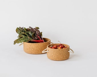 Large Cork Bowl with Rope Handles
