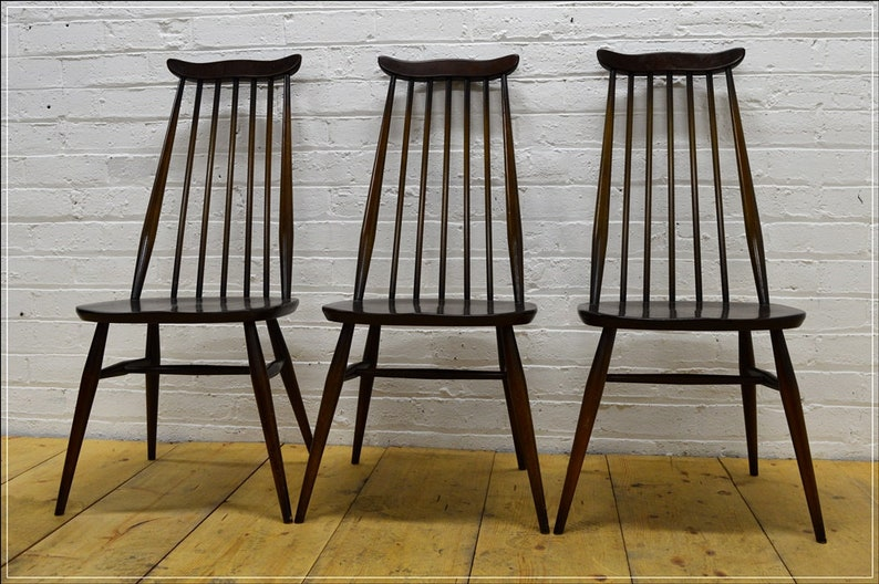 best authentic d75d7 abf33 vintage Ercol dining chair chairs set of 3 Goldsmith elm beech
