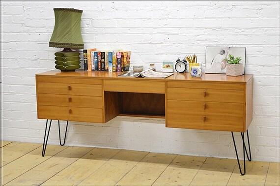 Mid Century Teak Desk Alfred Cox Danish Design Vintage Hairpin Etsy