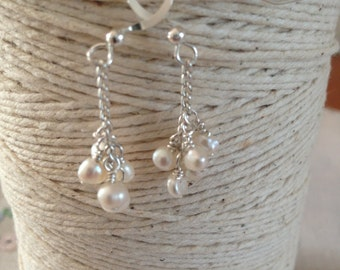handmade sterling silver tiny pearl cluster earrings