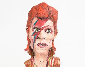 David Bowie paper mache figure