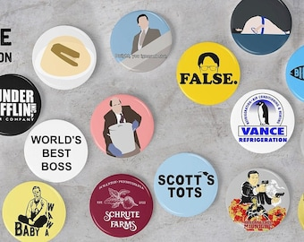 The Office Buttons Collection   pinback dwight False pins fan art, dunder mifflin, funny sign, Kevin Chili, gift, Schrute Farms, big tuna