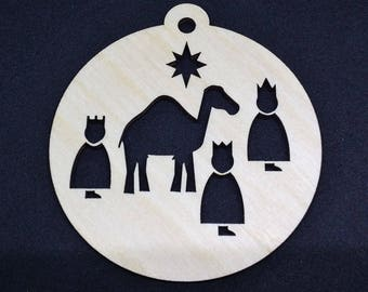 Three wise men Christmas Bauble – 3mm Birch - Laser cut - Approx 75mm x 75mm - Made in the United Kingdom